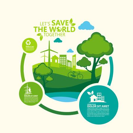 環境。一緒に世界を保存しましょう  イラスト・ベクター素材