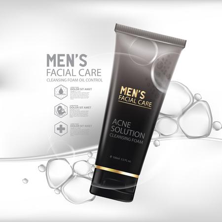 天然クレンジング泡肌ケア クレンザー顔きれいな泡  イラスト・ベクター素材
