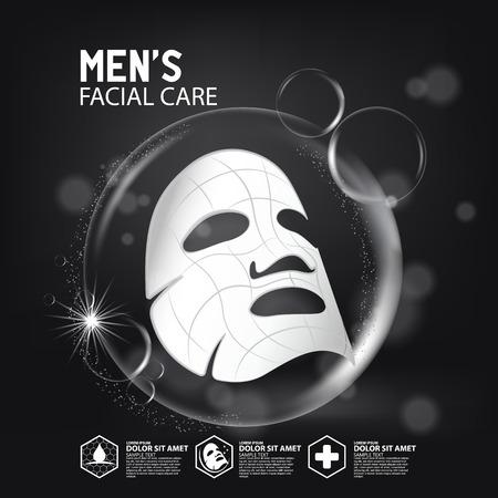 feuille de masque de solution de collagène Skin Care Cosmetic. Vecteurs