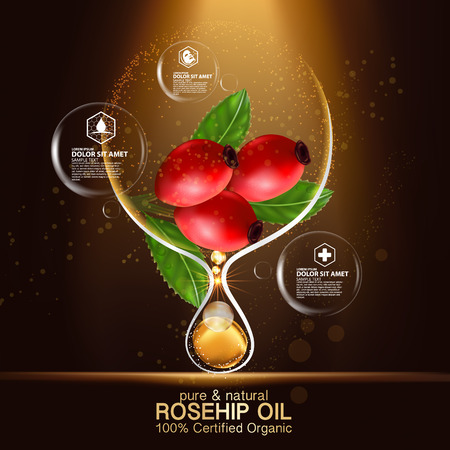 Rose hip oil natural cosmetic skin care Ilustracja