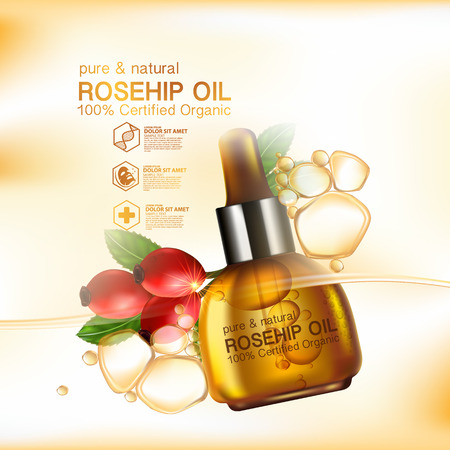 moisture: Rose hip oil natural cosmetic skin care Illustration