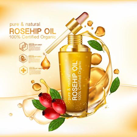 Rose hip oil natural cosmetic skin care Illustration