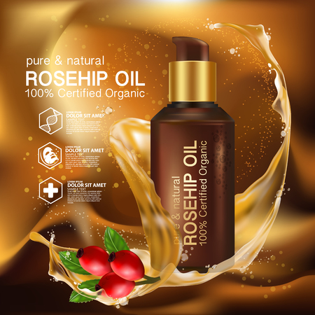 Rose hip oil natural cosmetic skin care Ilustração