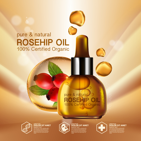wrinkly: Rose hip oil natural cosmetic skin care Illustration