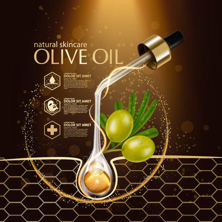 Olive oil organics natural skin care cosmetic. Vector illustration.