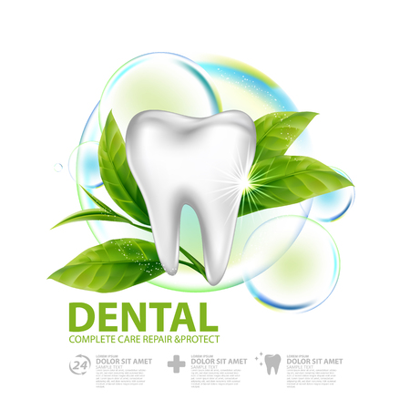 Dental care with green tea leaf concept