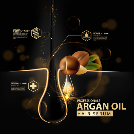 argan oil hair care protection illustration Ilustracja