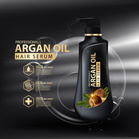 aceite de argan cuidado de la protección del cabello contenido en botella, fondo dorado y negro 3d ilustración