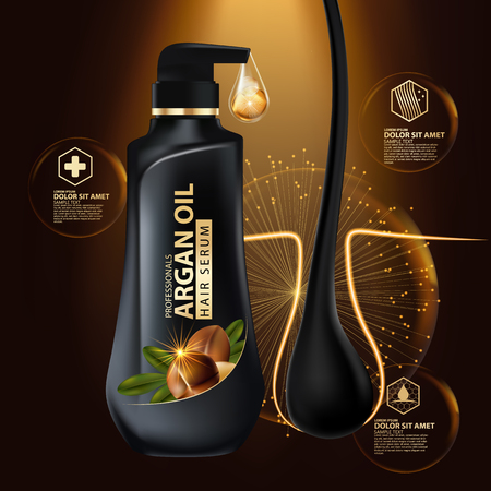 argan oil hair care protection contained in bottle ,golden and black background 3d illustration