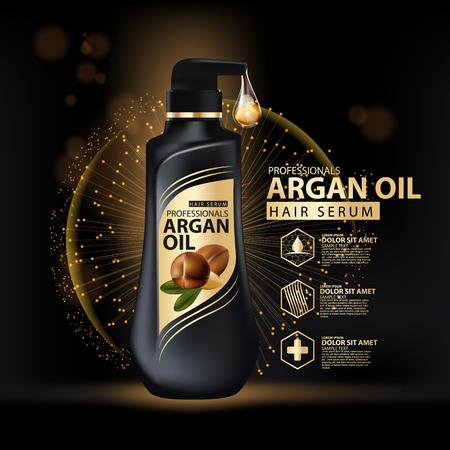 arganolie haarverzorging bescherming vervat in fles, gouden en zwarte achtergrond 3D-afbeelding