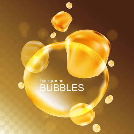 aura: Water bubbles with shining light, isolated light gold background