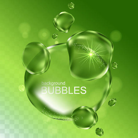 water bubbles with shining light, isolated light green background Illustration