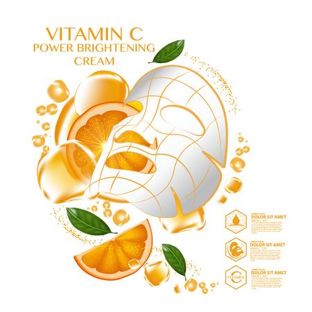 Mask sheet Orange fruit Vitamin Serum Moisture Skin Care Cosmetic. Illustration