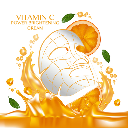 Mask sheet Orange fruit Vitamin Serum Moisture Skin Care Cosmetic. Illustration