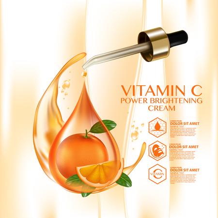 Oranje Fruit Vitamine Serum Vocht Huidverzorging Cosmetische. Stock Illustratie