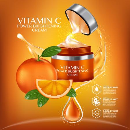 オレンジフルーツビタミン血清水分スキンケア化粧品。