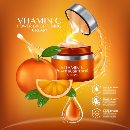 오렌지 과일 비타민 세럼 수분 스킨 케어 화장품.