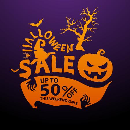 half price: Halloween sale design template Vector illustration