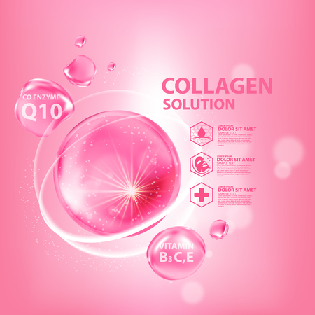 Collagen Serum Skin Care Cosmetic Vettoriali