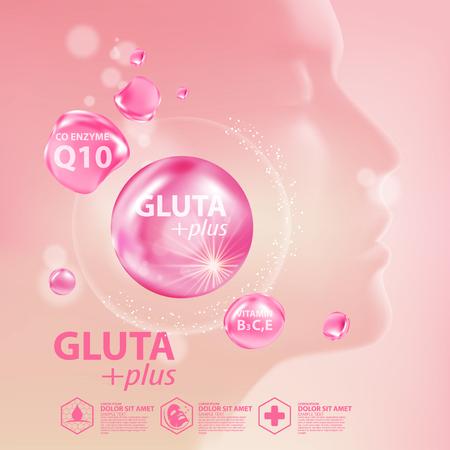 Gluta collagen Serum Skin Care Cosmetic vector illustration.