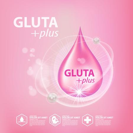 Ejemplo del vector cosmético del cuidado de piel del colágeno de Gluta. Ilustración de vector