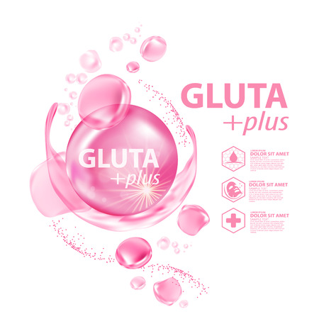 Gluta collagen Serum Skin Care Cosmetic vector illustration.