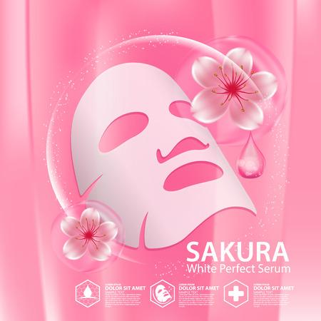 Sakura nature sérum, feuille de masque de solution de collagène Skin Care Cosmetic.
