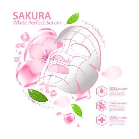 Sakura nature serum, collagen solution mask sheet Skin Care Cosmetic. Иллюстрация