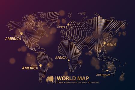 Modern Digital World  Map Globalization Concept. Vector Illustration