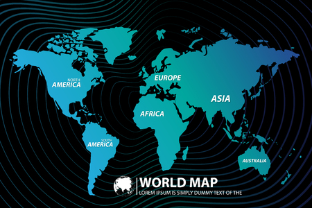 Modern Digital World Map Globalization Concept. Vector illustration