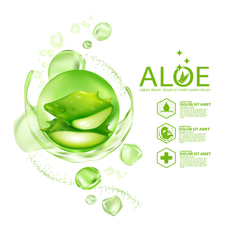 Aloe Vera collagen Serum Skin Care Cosmetic. 向量圖像