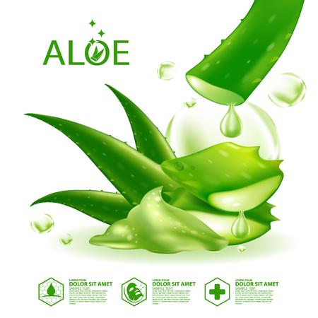 Aloe Vera collagen Serum Skin Care Cosmetic. Illustration