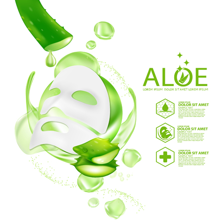 Aloe Vera collagen Mask Serum and Background Concept Skin Care Cosmetic. 스톡 콘텐츠 - 102223399