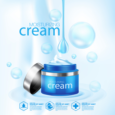 Moisturizing Cream cosmetic products ad, light blue bokeh background with beautiful containers vector illustration Illustration