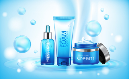 Moisturizing cosmetic products ad, light blue bokeh background with beautiful containers vector illustration