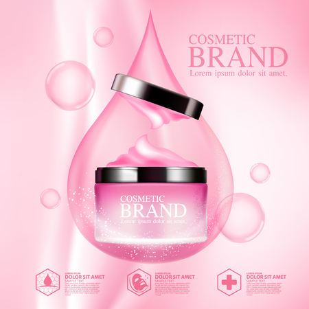 Ads brand cosmetic mockup packaging design template Illustration
