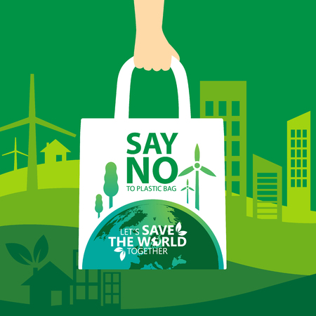 say no to plastic, use cloth bags, World environment day concept. Green Eco Earth. Vector illustration. Illustration