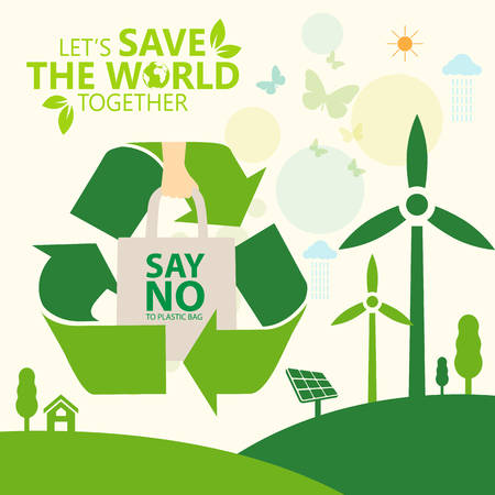 say no to plastic, use cloth bags, World environment day concept. Green Eco Earth. Vector illustration. Vectores