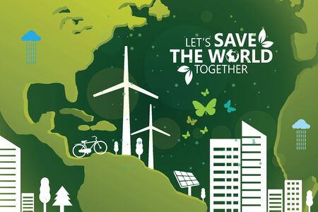 Environment  Lets Save the World Together Ilustração