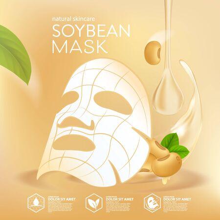 Soybeans Oil serum Natural Skin Care Cosmetic. Moisture Essence vector Illustration. Ilustración de vector