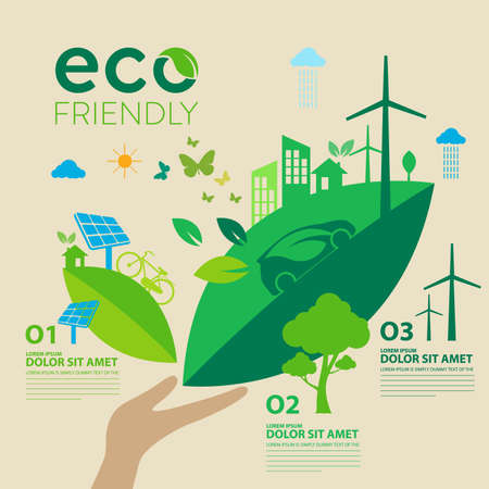 Ecology.Green cities help the world with eco-friendly concept ideas.vector illustration