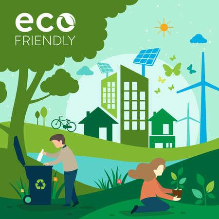 Ecology.Green cities help the world with eco-friendly concept ideas.vector illustration Ilustración de vector
