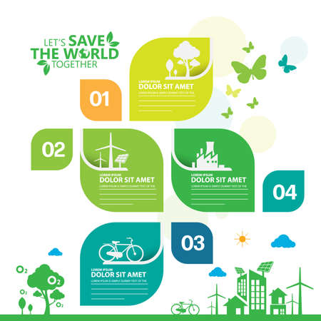 Ecology.Green cities help the world with eco-friendly concept ideas.info graphic template vector illustration Vettoriali