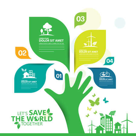 Ecology.Green cities help the world with eco-friendly concept ideas.info graphic template vector illustration