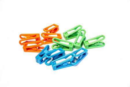 nip: Plastic clothes pin clamps in Thailand. Stock Photo