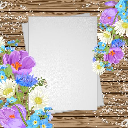 drawing board: Spring flowers on a wooden background, top view Illustration