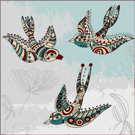 swallows: Swallows in ethnic style