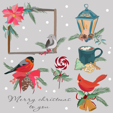 A festive set of elements for the New Year and Christmas. A set of winter decorations, warm drinks, cakes. Large clipart Ilustração