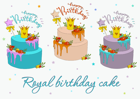 Royal birthday cake. A festive cake with a crown on the upper crust