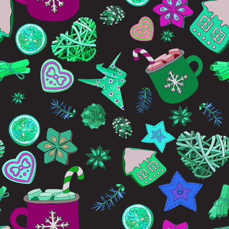 Christmas, New Years, Valentines Day. Set for decorating fabric or wrapping paper. Background for Valentines Day, Mothers Day, New Year Stok Fotoğraf